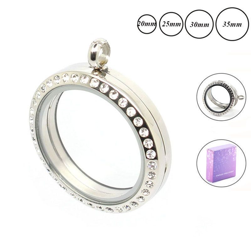Wholesale locket 20mm 25mm 30mm 35mm round magnetic glass floating locket 316L stainless steel lockets