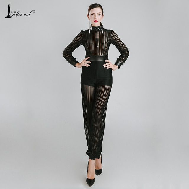 Missord 2016 Sexy high-necked long-sleeved Thread empty PU JUMPSUITS FT4796