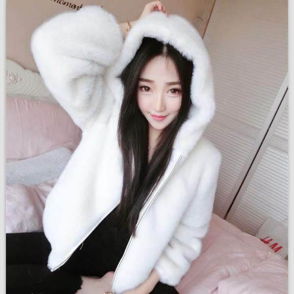 special offer female winter Korean loose jacket hooded Faux Fur jacket thick warm coat
