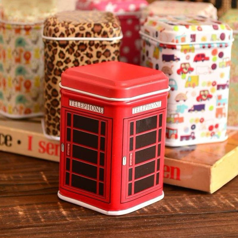 New small red Metal Candy Trinket Tin Jewelry Iron Tea Coin Storage Square Box Case home organizer box on sale