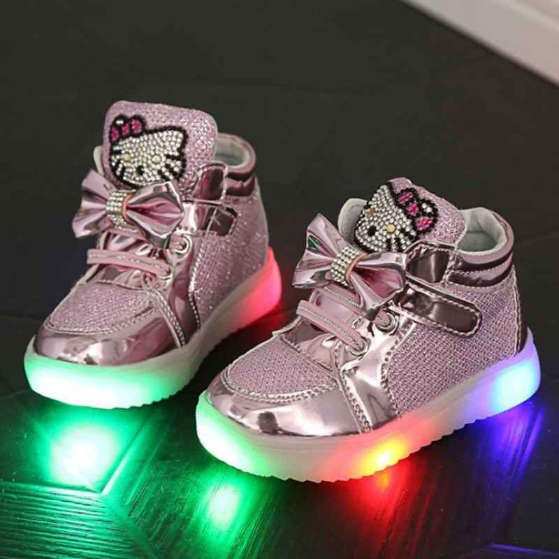 New Boy's Girl's LED Light Up Children Shoes Luminous Fashion Kids Flats Heels Breathable Sneakers PU Leather Casual Shoe 21-30