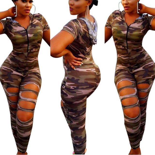 Sexy Club Women Hooded Jumpsuit Camouflage Print Rompers Slim Bodysuit Long Pants Playsuit Hollow Out Overalls plus size