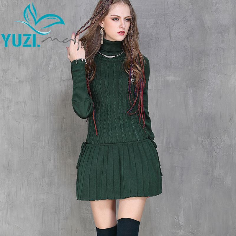 Winter Dress 2017 Yuzi Casual New Cotton Skinny Women Dresses Turtleneck Long Sleeve Pleated Vestido A6065 Vestidos Femininos