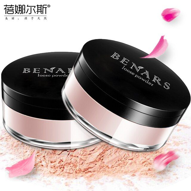 BENARS Rose Plant Powder Oil Control Loose Powder Cosmetics 15g Compact Whitening Brighten Skin Tone Makeup Mineral Powder