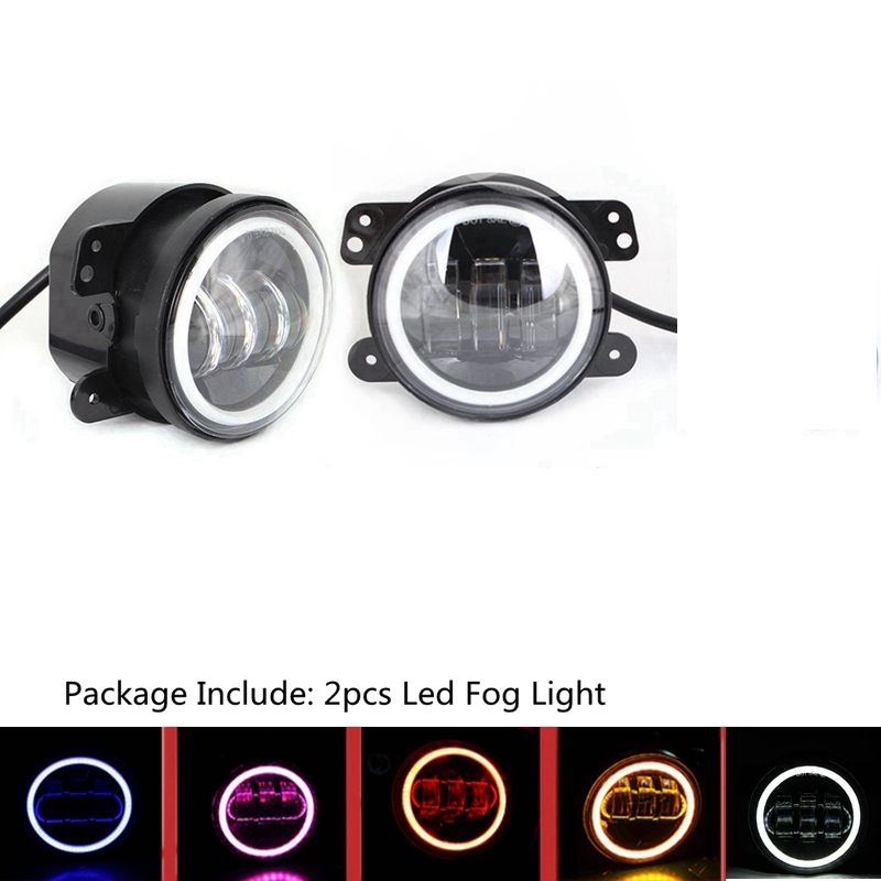 4 Inch 30w Led Fog Lights Two Color Halo Ring for Jeep Wrangler Dodge Magnum Journey Chrysler PT Cruiser and Others