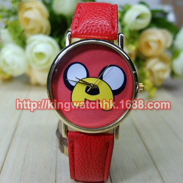 wholesale 100pcs/lot, 2015 Cute Dog Leather Watches big eyes Doggy Watch for Ladies Women Quartz Waterproof Watches