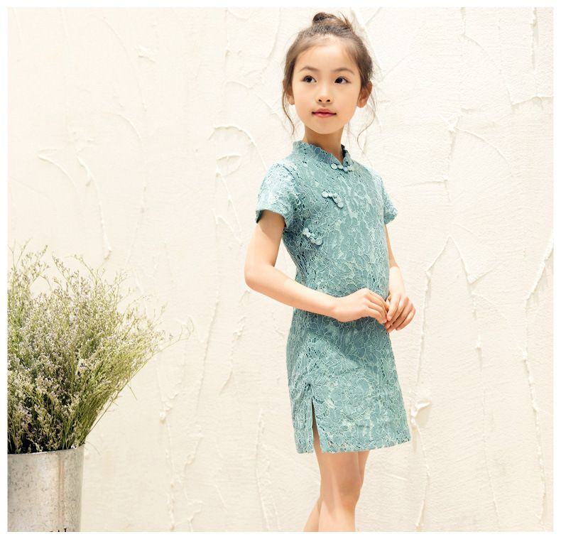 Classic Cotton Chinese Traditional Dress Girls Qipao Cheongsam Chinese Dress Lace Cheong-sam For Kids