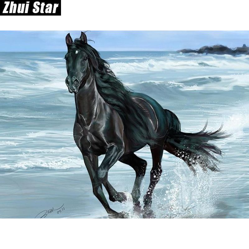 "New Full Square Diamond 5D DIY Diamond Painting ""Black Horse"" Embroidery Cross Stitch Rhinestone Mosaic Painting Decor Gift"