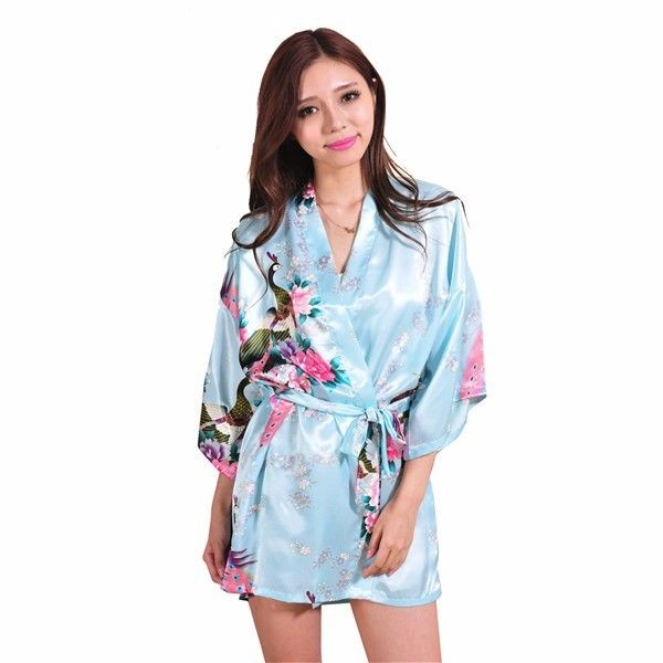 Hot Sale Baby Blue Ladies Kimono Robe Mujeres Vestido China Faux Silk Bath Gown Nightgown peafowl Size S M L XL XXL XXXL S0035