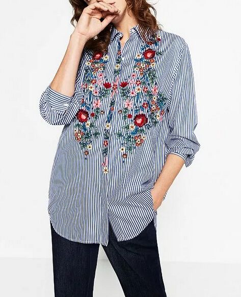 2017 New Spring Autumn Women Blouse Flower Embroidery Long Sleeve Work Shirts Women office Tops Striped blouse for business