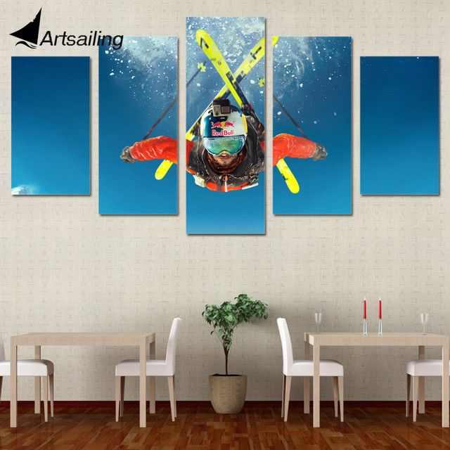 5 Piece Canvas Art Freestyle Skiing Printed Wall Art Home Decor Canvas Painting Picture Poster and Prints Free Shipping XA1284B