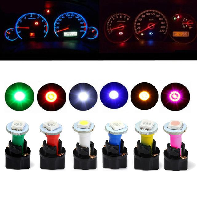 10 Sets Car Auto DC 12V 0.2W T5 LED 5050 SMD Instrument Panel Dash Light Bulb Holder White Color