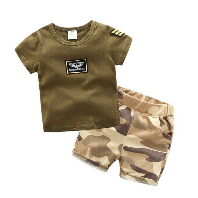 Child Boy's Summer Clothing Set 2018 Baby Boy Short Sleeve Army Green T-Shirt and Camouflage Shorts