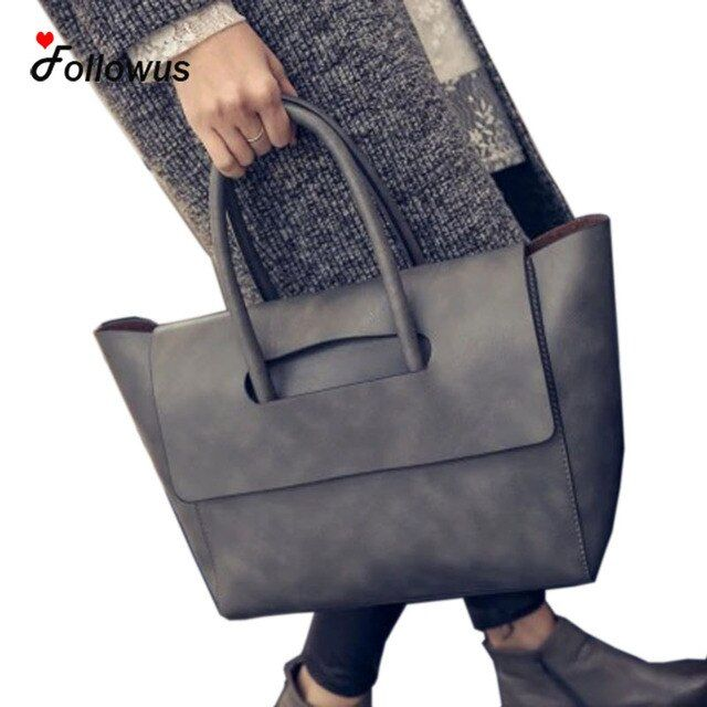 Hot Sale Women Handbag New Women Tote Bag High Capacity Female Casual Fashion OL Business PU Leather Handbags Black Brown Gray