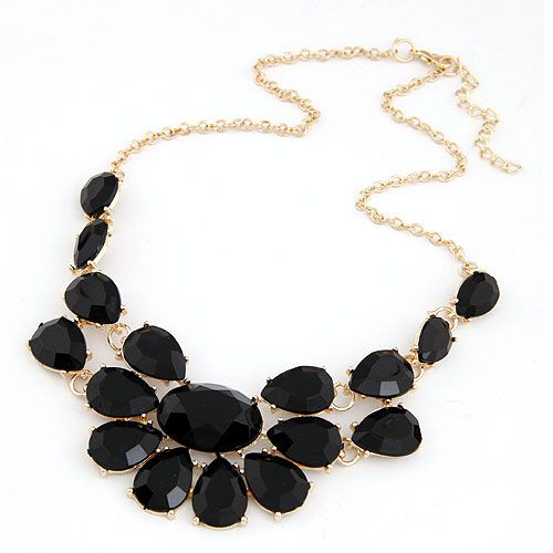 Fashion Jewelry lady Banquet Accessories multicolour acrylic gem choker necklace Pendant jewelry statement bib necklace women