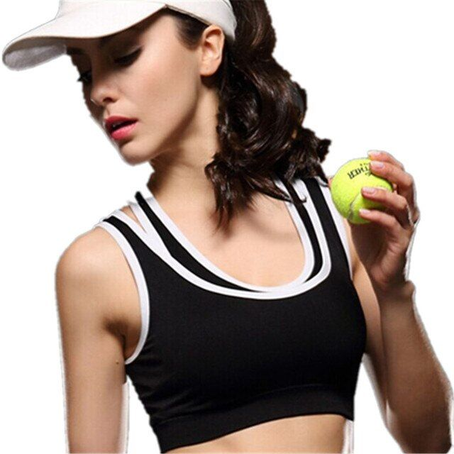 Free Shipping Womens Absorb Sweet Quick Drying Professional Spandex  Bra Stripe Wirefree Without Steel Top Vest