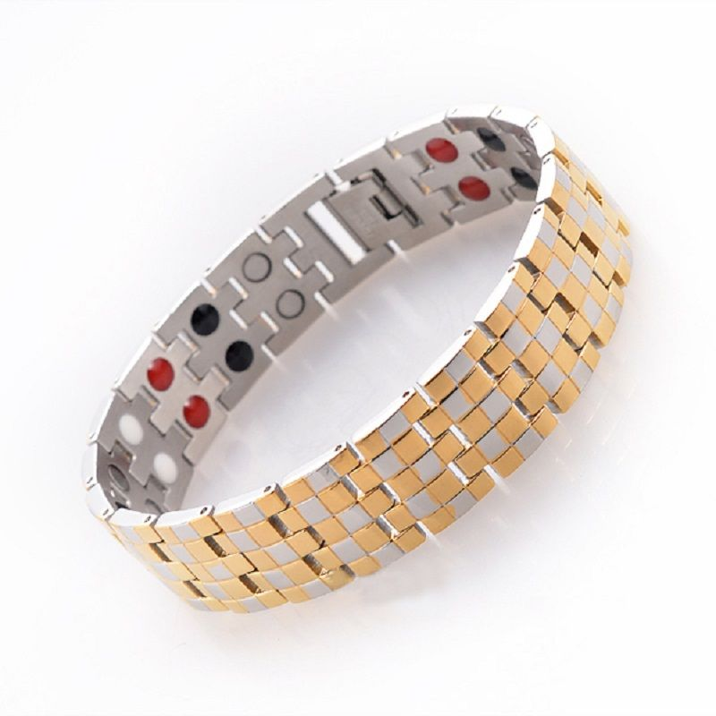 Gold Color Men's Health Care Bracelets & Bangles Stainless Steel Charm Bracelet Jewelry for Man with Magnetic Germanium SS005B