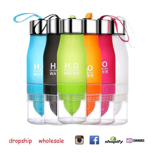 Free Shipping! Lemon Cup Water Bottle 650ml Multi Color H2O Drink More Water Drinking Bottle