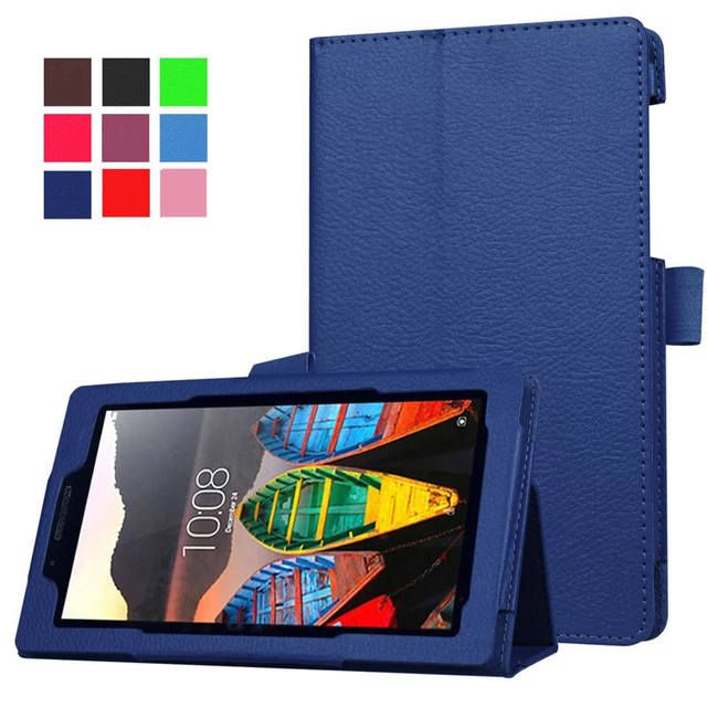 Magnet stand Lichi Pu leather case cover For Lenovo Tab 3 730 730F 730M 730X 7.0 tablet funda cases for lenovo TB3-730F TB3-730M