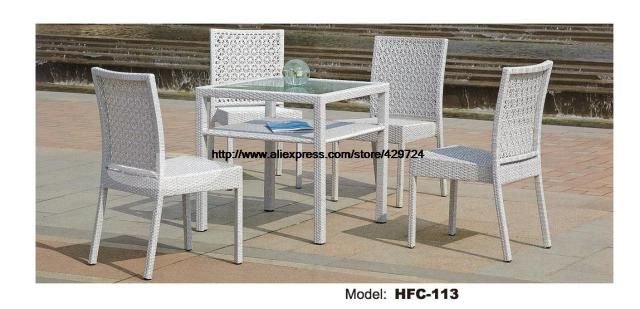 Rattan Balcony Chairs Table Combination 5 PCS 2 Level Square Table Practical Outdoor Furniture 2016 Hot Sale Garden Balcony Set