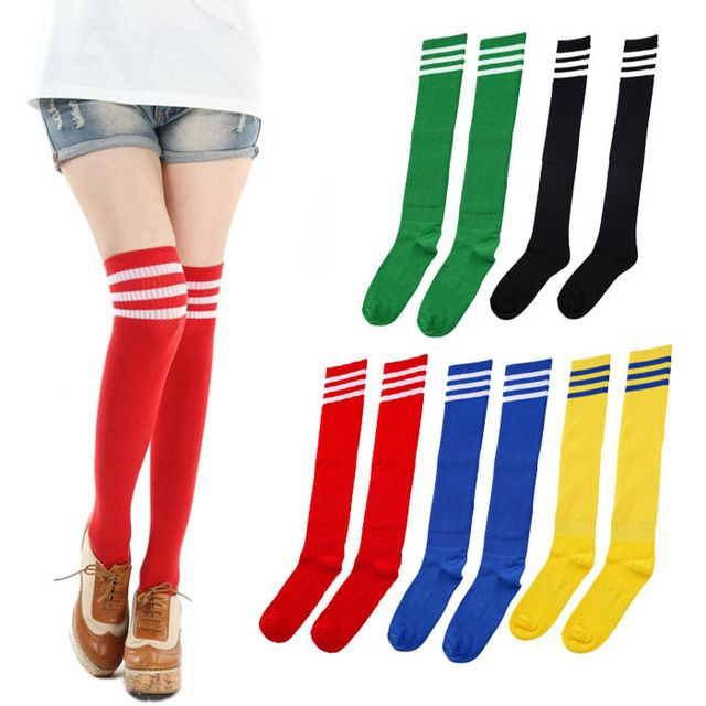 Moodeosa 1 Pair THIGH HIGH SOCKS Over Knee Girls Womens Cheerleader Freeshipping