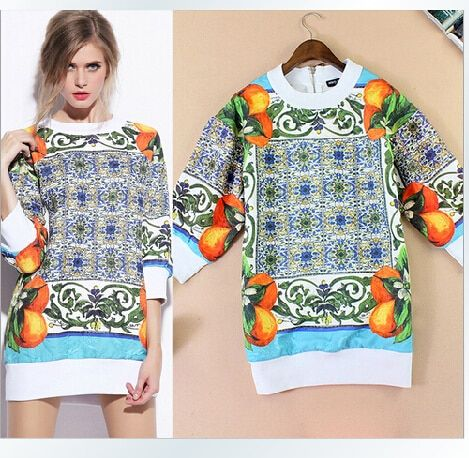 Clearance 50%off Discount High Quality 2016 Autumn Winter Women's Fashion Long Hoodies Fruit Print Casual Hoodies Dresses