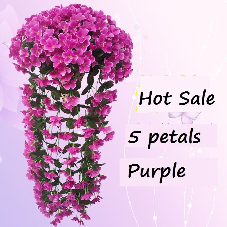 5 Petals Violet Artificial Flower Decoration Simulation Wall Hanging Basket Flower Orchid Silk Flower Vine Wholesale