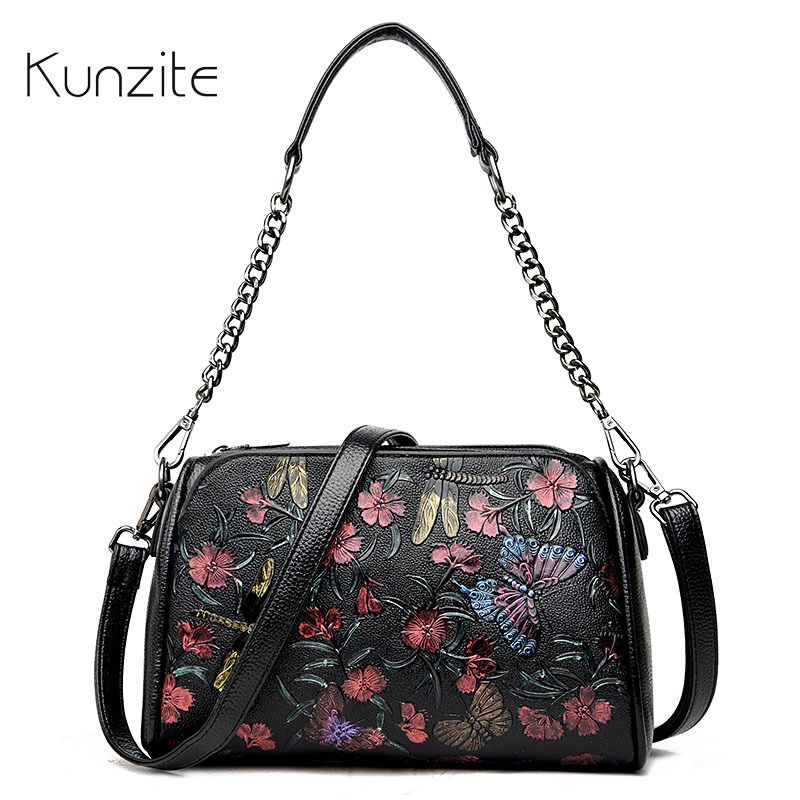 Kunzite Brand New 2017 Printing Flower Chains bag Crossbody Bags for Women Designer Handbags with High Quality Lady Clutch Bags