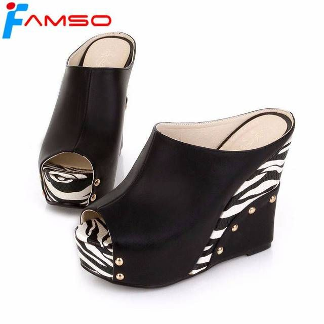 FAMSO Size34-43 2018 New Fashion Women Sandals Peep toe High Heels Sandals Casual Slides Wedges Pumps Ladies Sandals PS1994