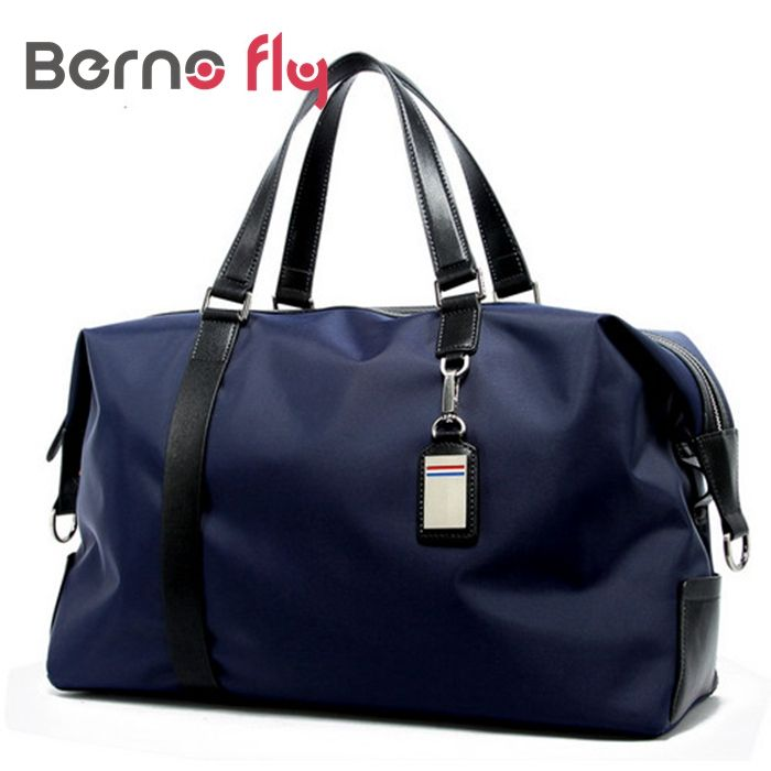 Fashion Men Nylon Travel Bag Black Blue Men Tote Shoulder Travel Bag Portable Men Handbags Big Weekend Bag Waterproof Duffle Bag