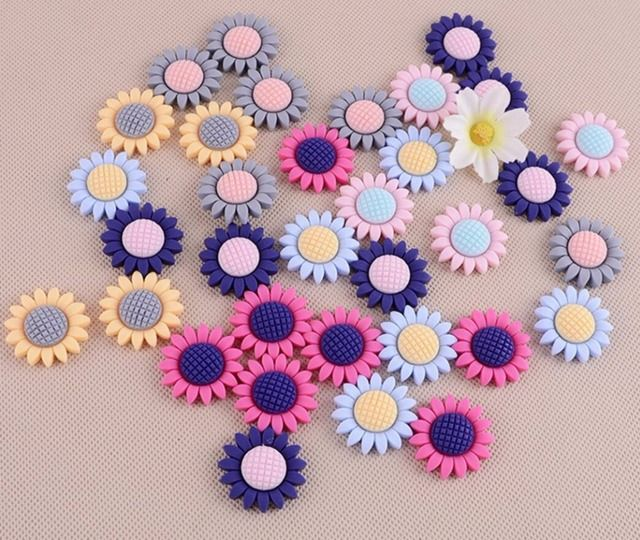 100pcs Resin Matte Sunflower Flatback Beads Figurines Miniatures For Scrapbooking Craft Diy Headwear Cellphone Decoration