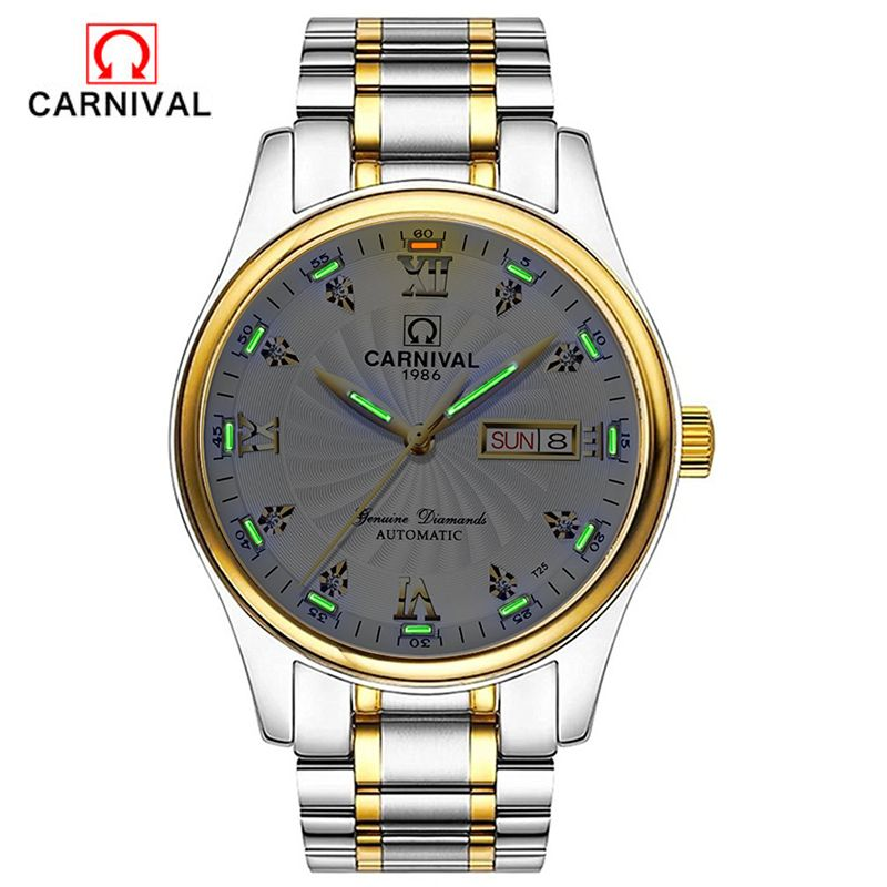 CARNIVAL watches men automatic mechanical watches fashion diamonds stainless steel with luminous leisure business watches