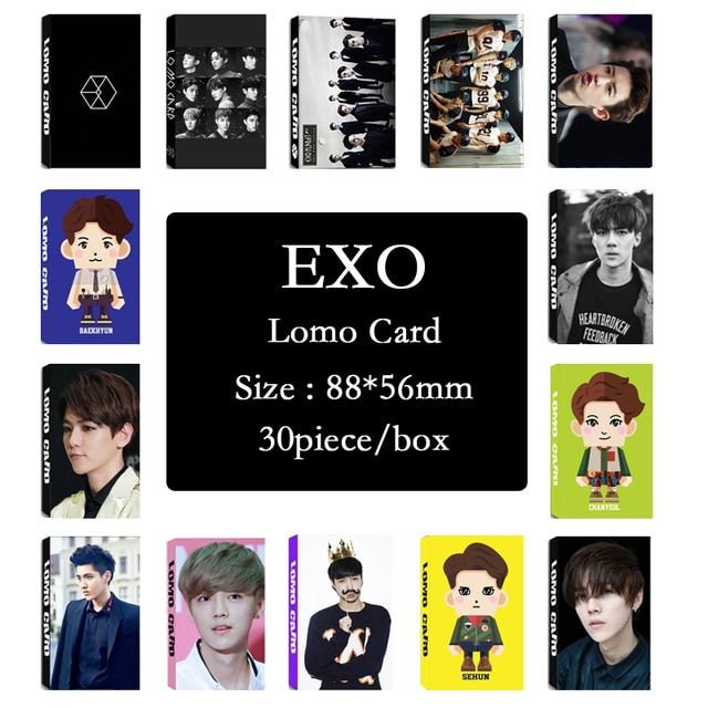 Youpop  Wholesale KPOP Fan EXO EXO-K EXO-M XOXO WOLF EXODUS Overdose Album Small Cards Photos Photocard
