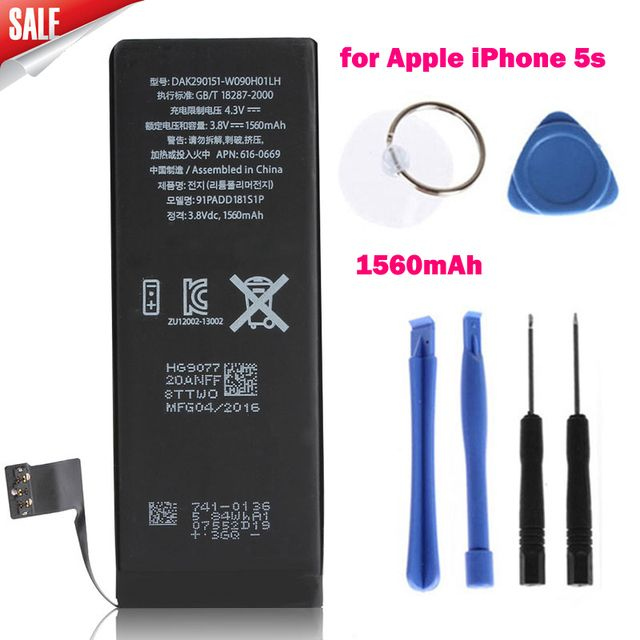 High Capacity Genuine Replacement Lithium Polymer Battery 3.8V 1560mAh for Apple iPhone 5s + Tools Batterij Bateria