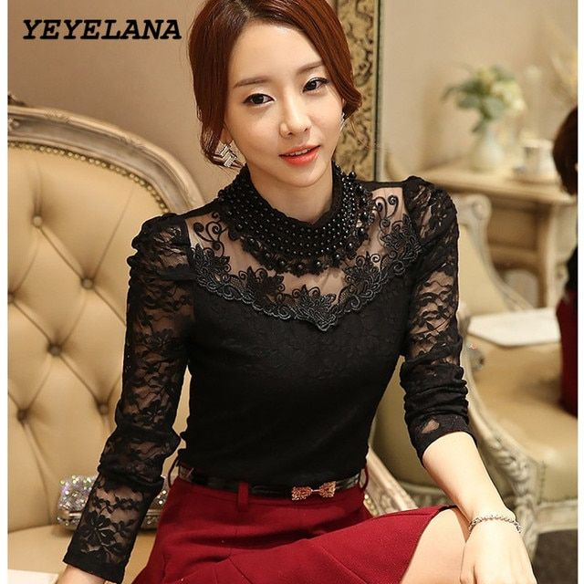 YEYELANA 2018 New Women Blouses Autumn Blusas Slim Sexy Casual Lace Blouse Openwork Long Sleeve Shirt Women clothing Tops A006
