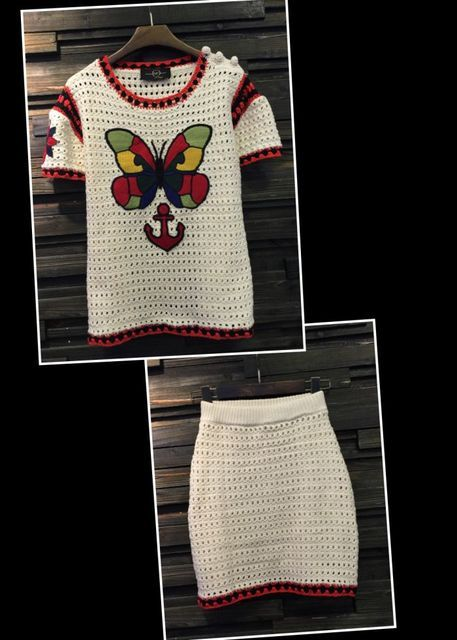 VogaIn 2016ss Short Sleeved Knitted Sweater shirt With colorful Butterfly Embroidered Hollow out Crochet Mini Skirt 2 pieces set