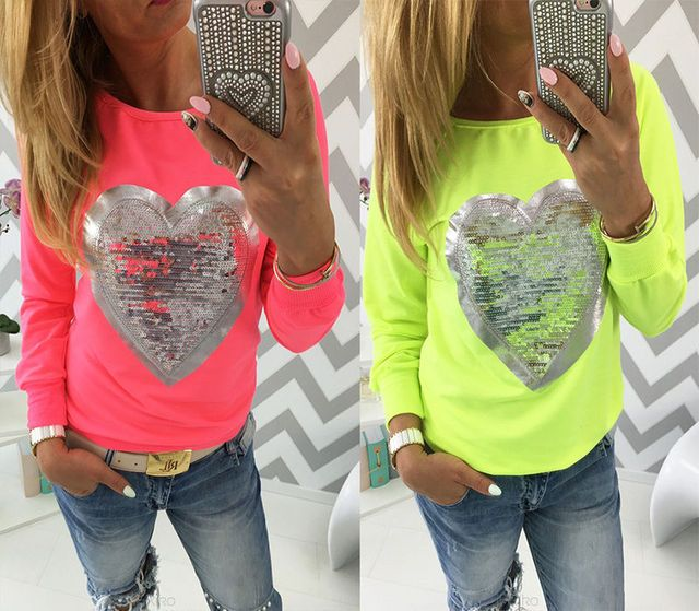 Fashion Women Ladies Clothes Long Sleeve Heart Print Love Pattern Cotton T-Shirt Tops Casual Women Clothing