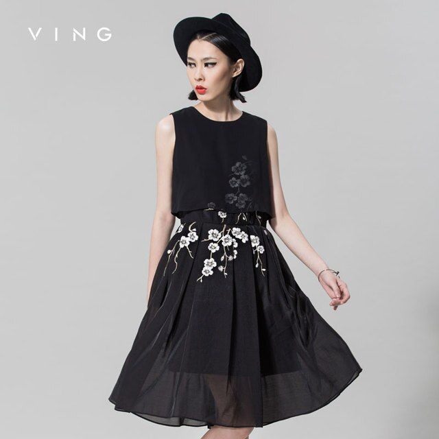 VING Women New Arrival Embroidered Chiffon One-piece Dress Sleeveless  A-line Female Dress