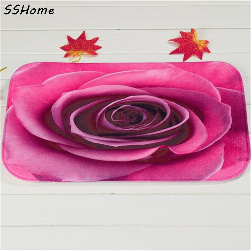 Coral Velvet Bathroom Carpet Mats Anti-slip Rug Shower 40x60cm ROSE Color Rose Bath Kitchen Doormat for Hallway Home Decoration