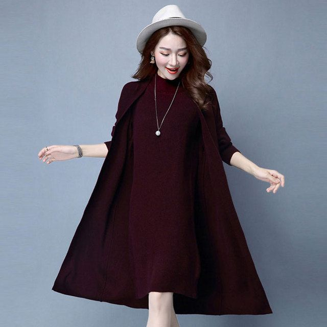 Winter Autumn Women Sweater Dresses Long Sleeve Knitted Wool Sweater Dress Female Straight Dress Woman Clothing 2PCS