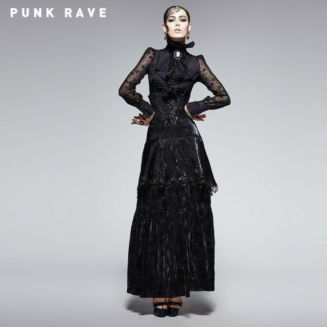 New Punk Rave highwaist Goth skirt Victorian Retro fashion Lady Lace Top Q246 XS-XXL