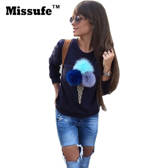 Missufe Plush Ice Cream Patchwork Women Top 2016 Casual Long Sleeve O-neck Sweatshirt Outfit Street Fashion Slim Autumn Hoodies