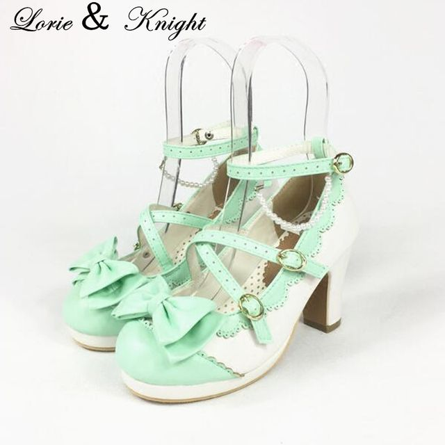 Womens Round Toe Chunky Heel Criss Cross Sweet Bowtie Lolita Shoes Mary Jane Style Princess Shoes