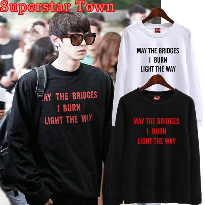 Exo Chanyeol Same Paragraph Hoodies Unisex Casual Loose Letter Sweatshirt Kpop Hip Hop High Street Tracksuit Sudaderas Mujer
