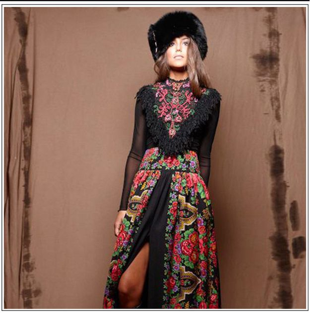2017 Elegant European Lady Spring Long Sleevace Patchwork Maxi Long Bohemian Dress Women's Russian Runway Dresses Plus Size XXXL