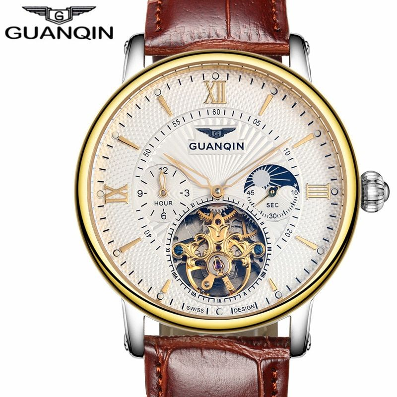Men Watches Top Brand Luxury GUANQIN  Sport Tourbillon Automatic Mechanical Leather Wristwatch relogio masculino Men Watch