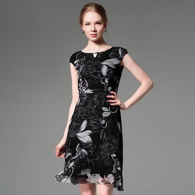 100% Silk Chiffon Printed Dress Classic Black Color Flowers Pattern Women Summer Dresses