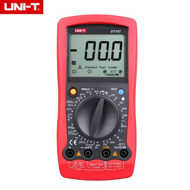 UNI-T UT107 LCD 3 1/2 Automotive Handheld Multimeter AC/DC voltmeter Tester Meters with DWELL,RPM,Battery Check