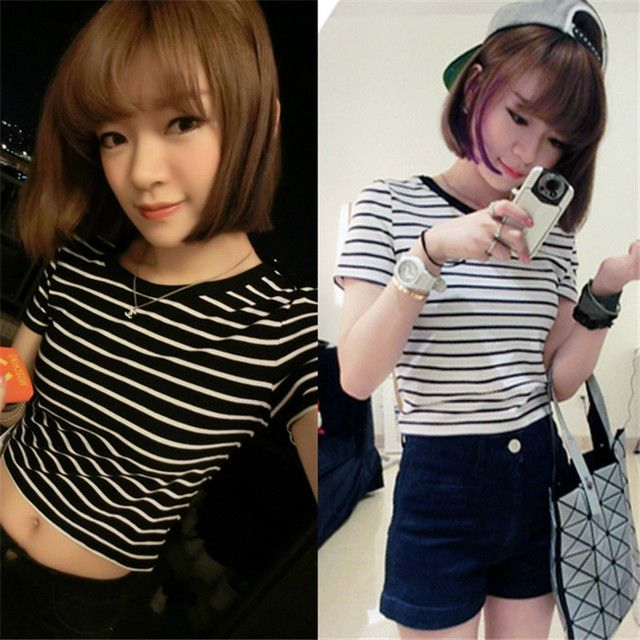New Women's Cotton Tees Striped Bare Midriff Crop Tops T-shirt Summer Slim Fit Shirt