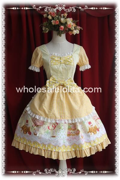 Yellow Cream Workshop Sweety Print OP Lolita Dress